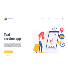 taxi service app landing page woman using vector image