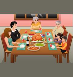 Thanksgiving family dinner vector