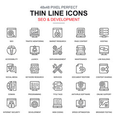 thin line seo and development icons set vector image