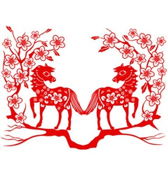 Two red horse for Chinese new year vector