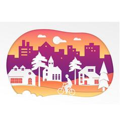 Urban landscape - modern paper cut vector