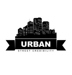 Urban logo template city skyline silhouette vector