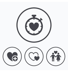 Valentine day icons Love heart timer sign vector image