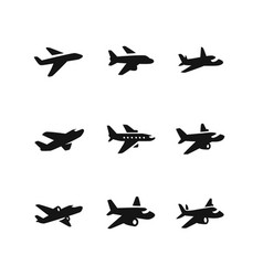 various planes in black vector image
