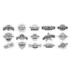 Vintage badge retro brand name logo badges vector