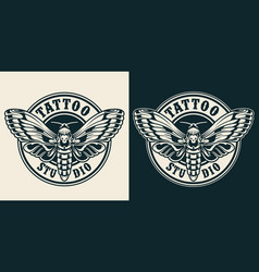 Vintage tattoo studio round label vector