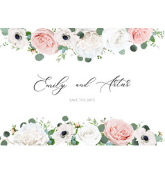 white ivory blush peach wedding invite card floral vector image