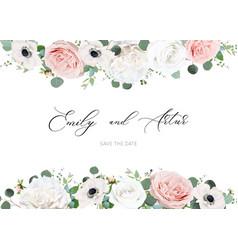 White ivory blush peach wedding invite card floral vector