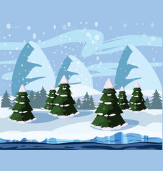 winter cute landscape christmas trees in the snow vector image