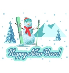 winter sport Snowman with ski vector image