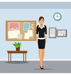 woman office stading table plant pot clock notice vector image