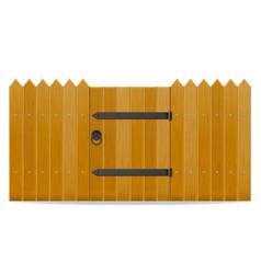 Wooden fence with wicket door vector