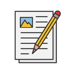 Writing essay color icon vector