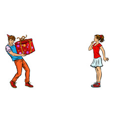young man gives girl a birthday present vector image
