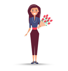 young woman with bouquet of roses vector image