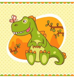 Dino and butterfly vector image