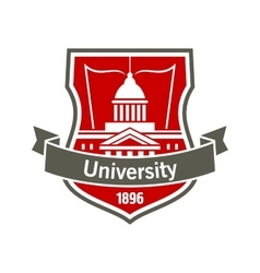 Education heraldic badge with university building vector image