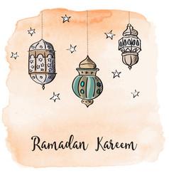ramadan arabic lanterns with orange watercolor vector image vector image
