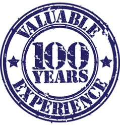 Valuable 100 years of experience rubber stamp vector image vector image