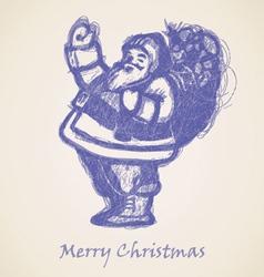 Blue Santa Claus Sketch vector image vector image