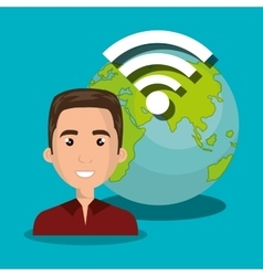 Man wifi online isolated vector