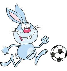 Rabbit playing soccer cartoon vector image vector image