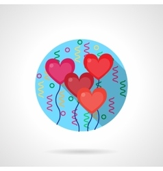Bright romantic balloons flat color icon vector image