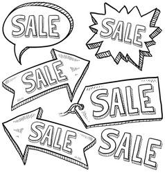 doodle label tag sale vector image