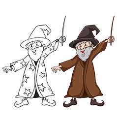 Sketches of a wizard in two colours vector image