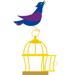 bird on the cage vector image vector image