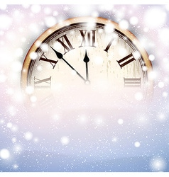 New year clock with snowy background vector image vector image