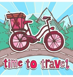 Travel poster with bicycle vector image vector image