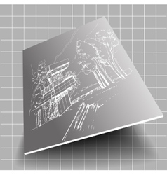 white architecture sketch gray background with vector image vector image