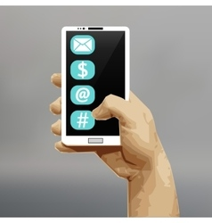 White smart phone in his hand Working with vector image