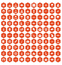 100 military journalist icons hexagon orange vector