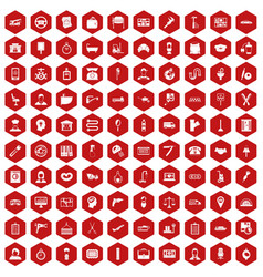 100 work icons hexagon red vector