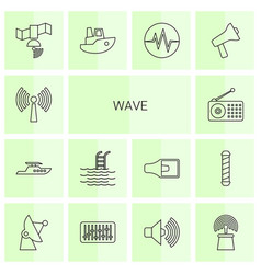 14 wave icons vector