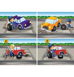 Accident scenes with broken car and mechanics vector