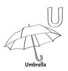 alphabet letter u coloring page umbrella vector image