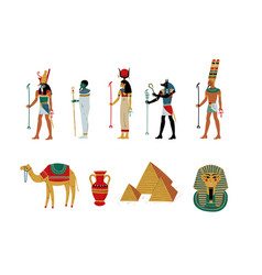 ancient egypt cultural symbols set gods and vector image