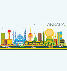 Ankara skyline with color buildings and blue sky vector