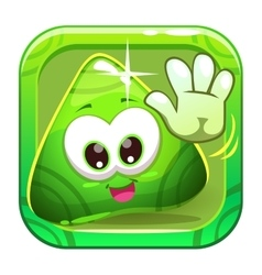 App icon with funny cute green character vector