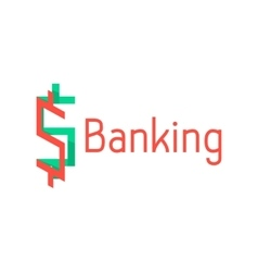 banking logotype with red and green abstract sign vector image