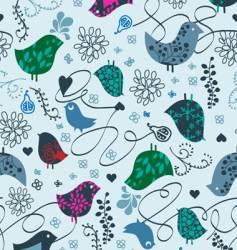 Birds and hearts seamless vector