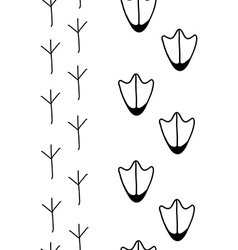 birds footprints in black and white vector image