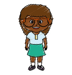black little girl with glasses character vector image