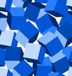 Blue 3D blocks in a seamless pattern vector