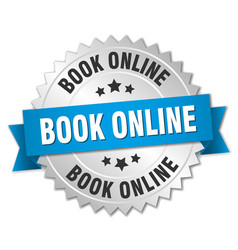 Book online 3d silver badge with blue ribbon vector