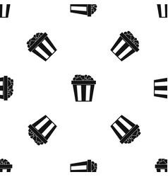 box of popcorn pattern seamless black vector image