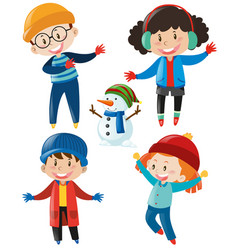 Boys and girls in winter clothes vector